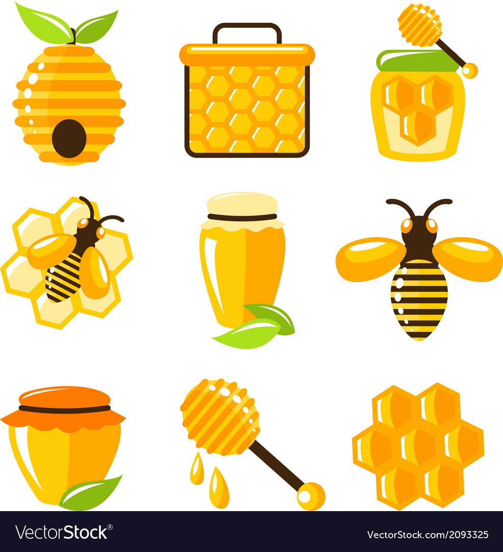 Honey icons set vector | Price: 1 Credit (USD $1)