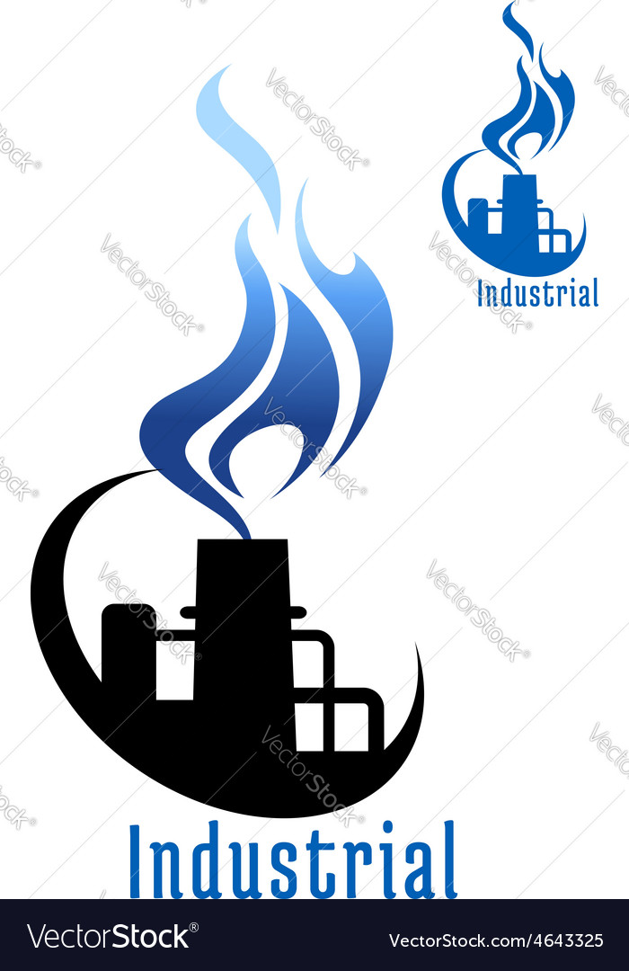 Industrial plant with blue gas flame vector | Price: 1 Credit (USD $1)