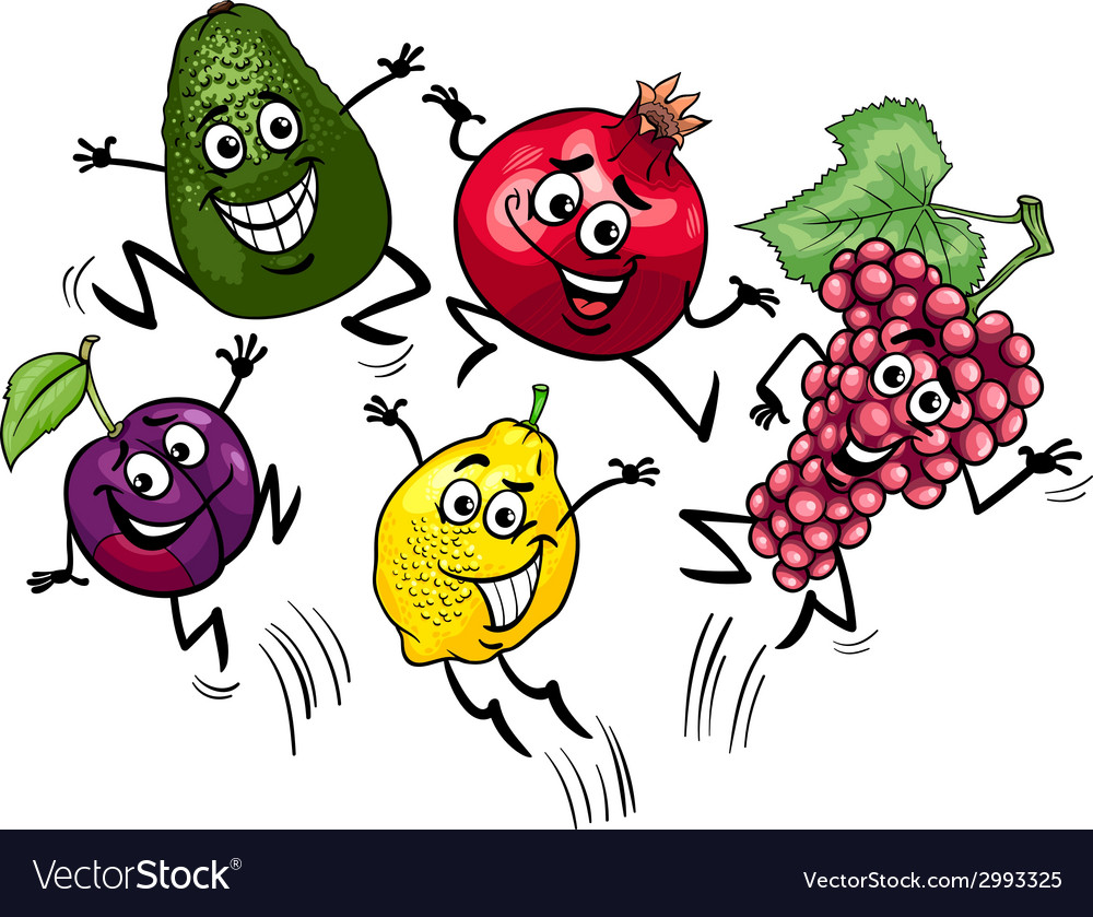 Jumping fruits cartoon vector | Price: 1 Credit (USD $1)