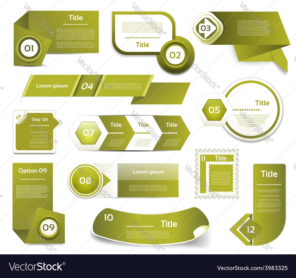 Set of green progress version step icons eps 10 vector | Price: 1 Credit (USD $1)