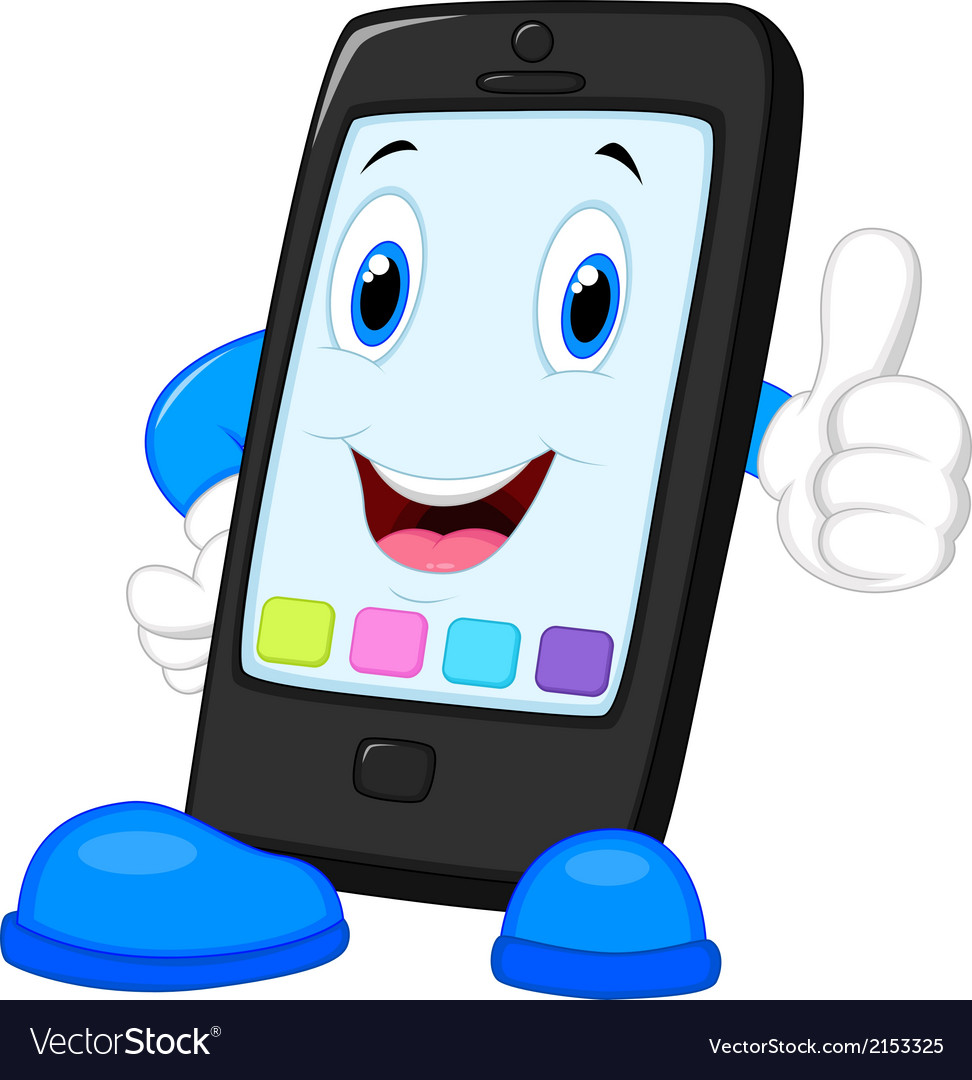 Smart phone cartoon giving thumb up vector | Price: 1 Credit (USD $1)