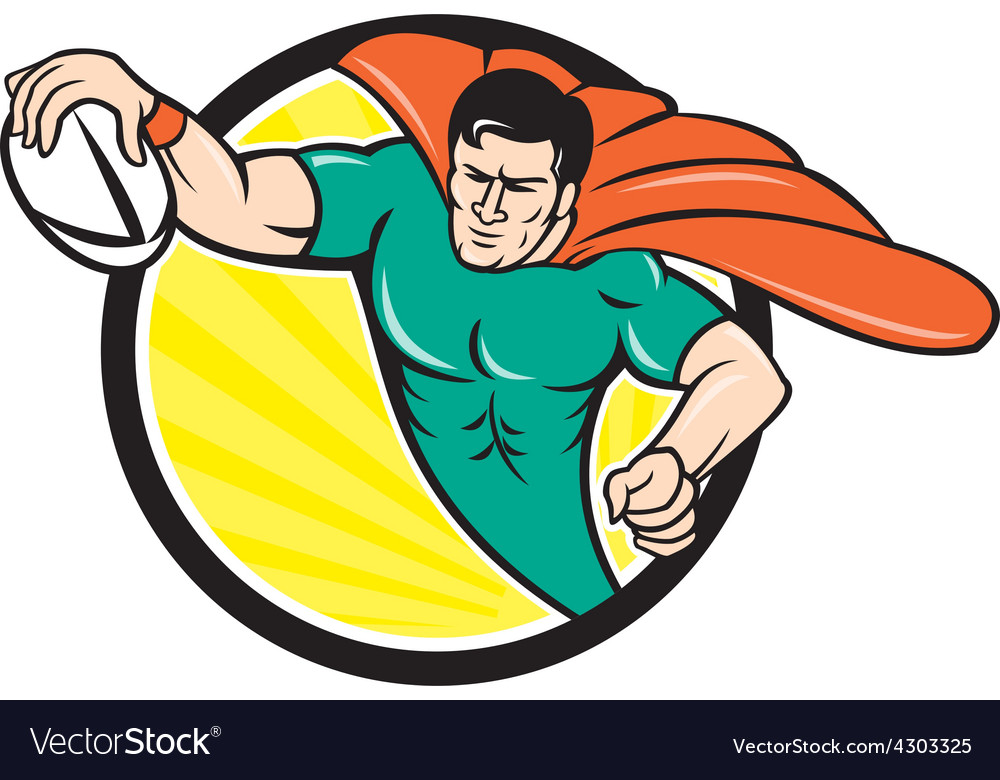 Superhero rugby player scoring try circle vector | Price: 1 Credit (USD $1)