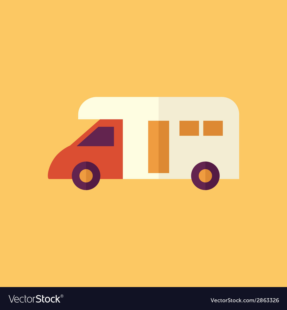 Camper transportation flat icon vector | Price: 1 Credit (USD $1)