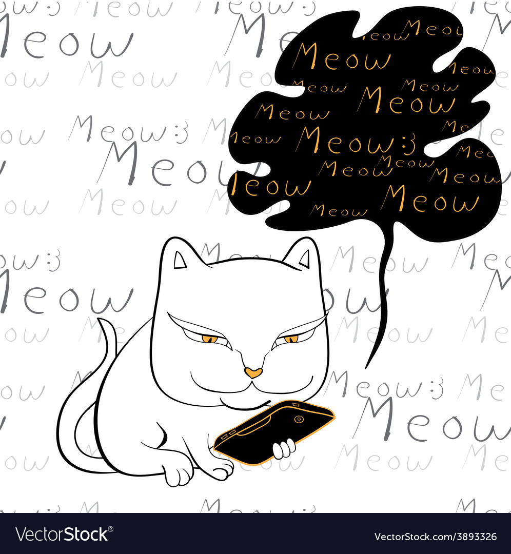 Cat reading smartphone vector | Price: 1 Credit (USD $1)