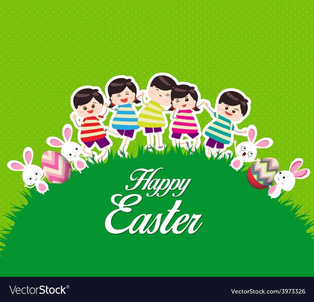 Happy kids easter eggs play bunny cute vector | Price: 1 Credit (USD $1)