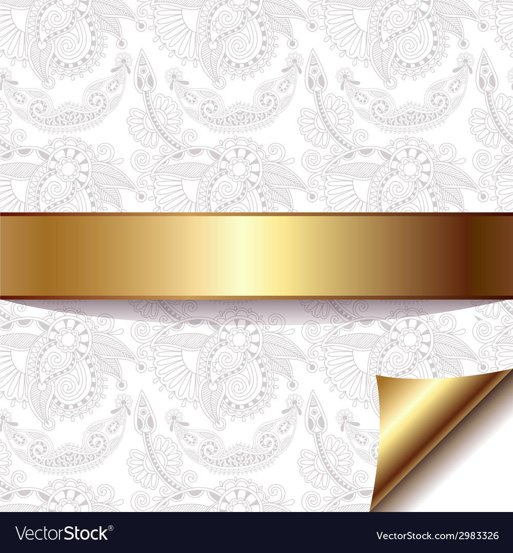 Light floral background with gold ribbon eps 10 vector | Price: 1 Credit (USD $1)