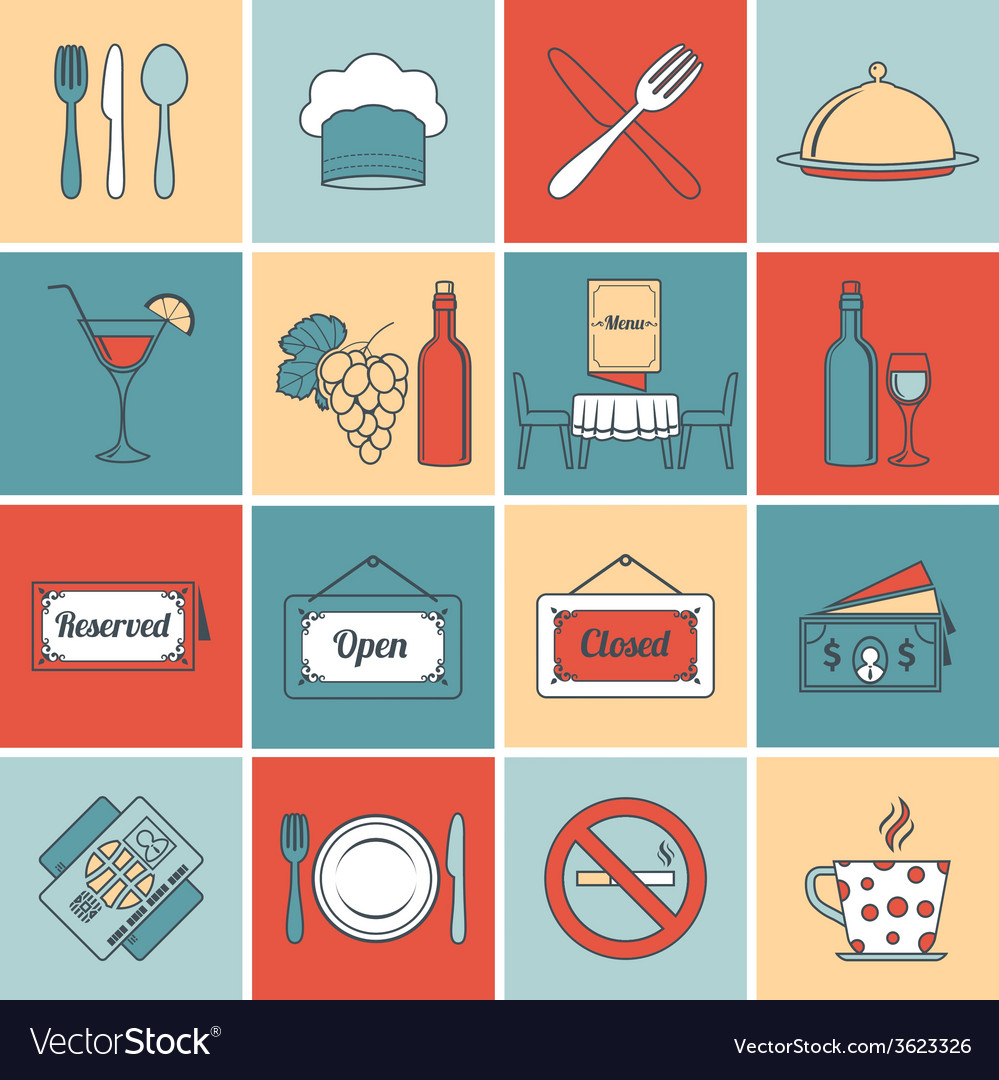 Restaurant icons set flat line vector | Price: 1 Credit (USD $1)