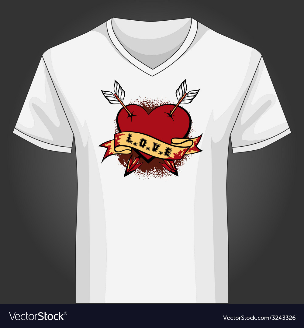 V neck shirt template with heart piersed by arrows vector | Price: 1 Credit (USD $1)