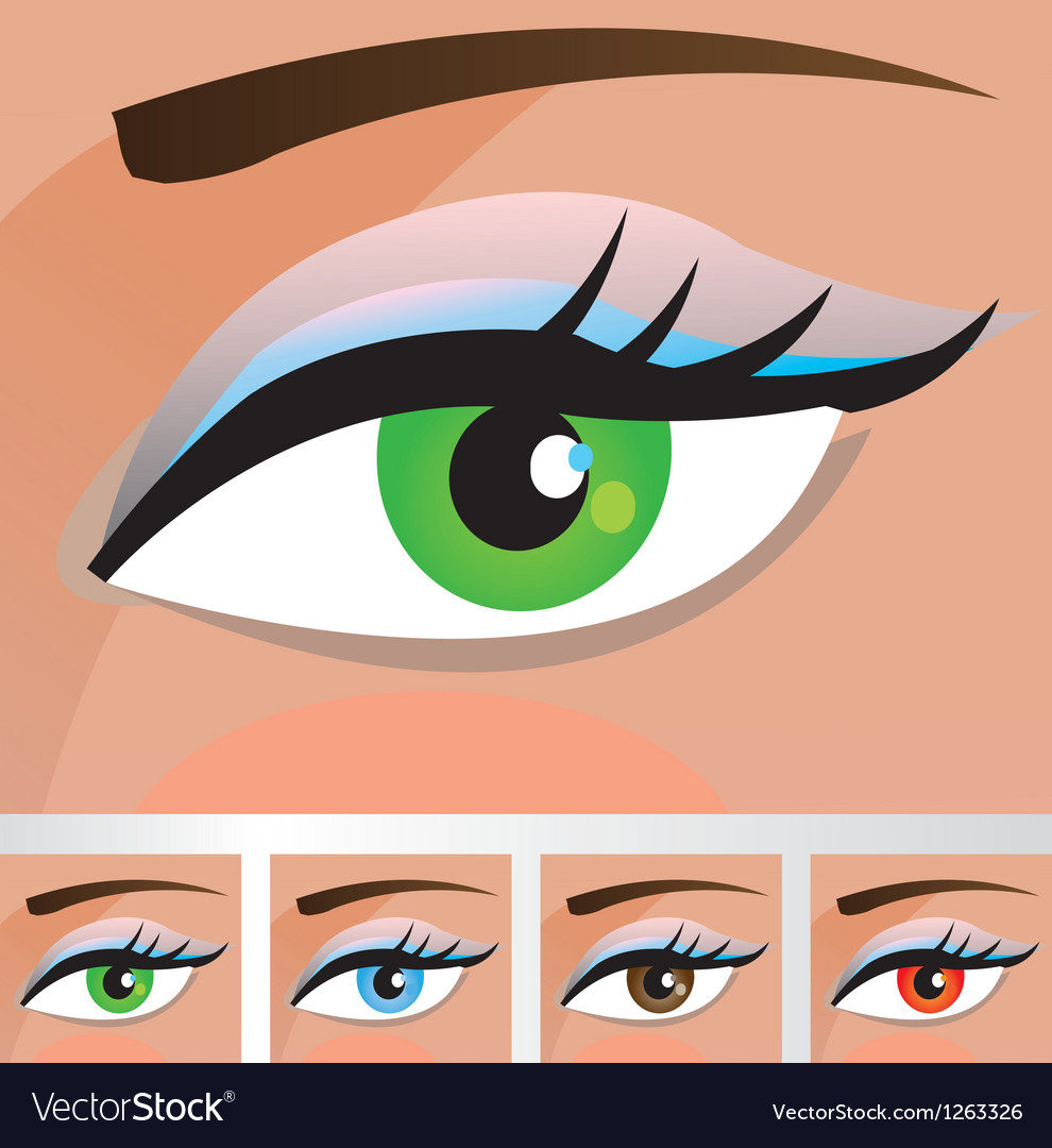 Woman eyes of different colors vector | Price: 1 Credit (USD $1)