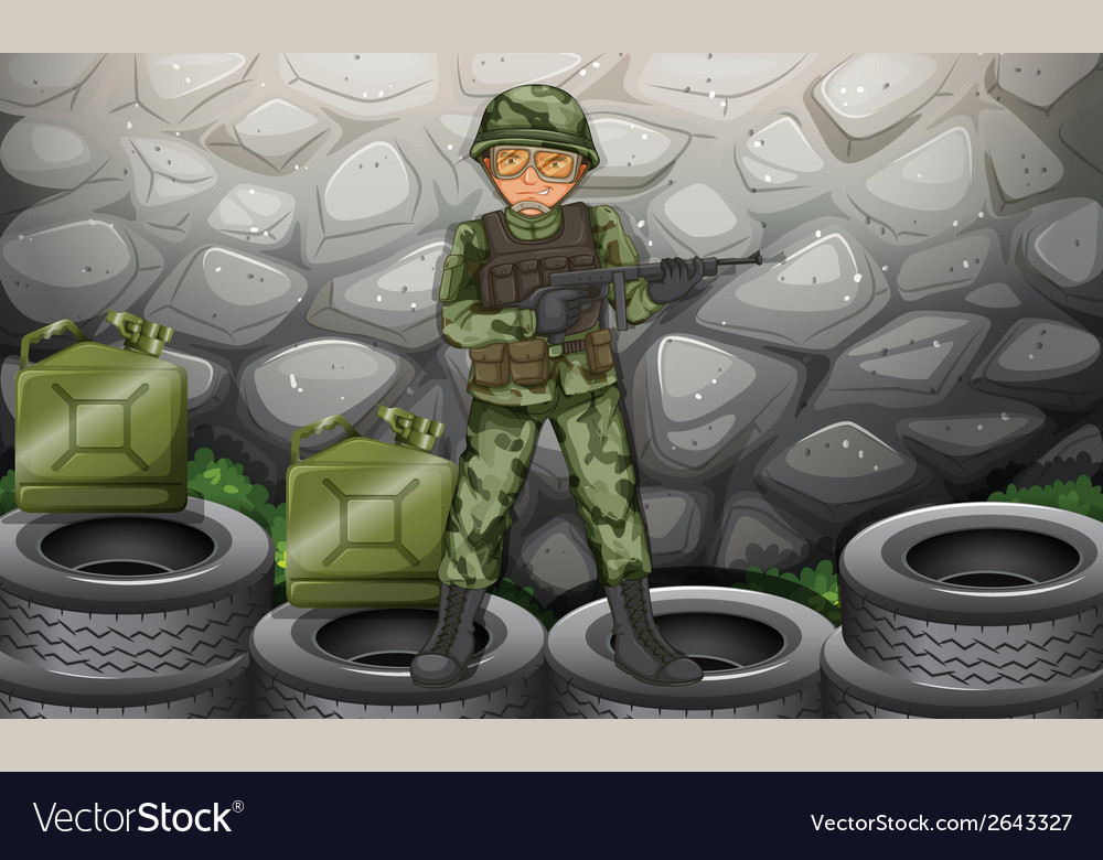 A brave soldier hiding behind the stonewall vector | Price: 3 Credit (USD $3)