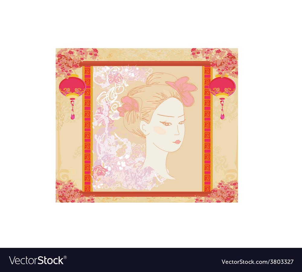 Abstract beautiful geisha portrait vector