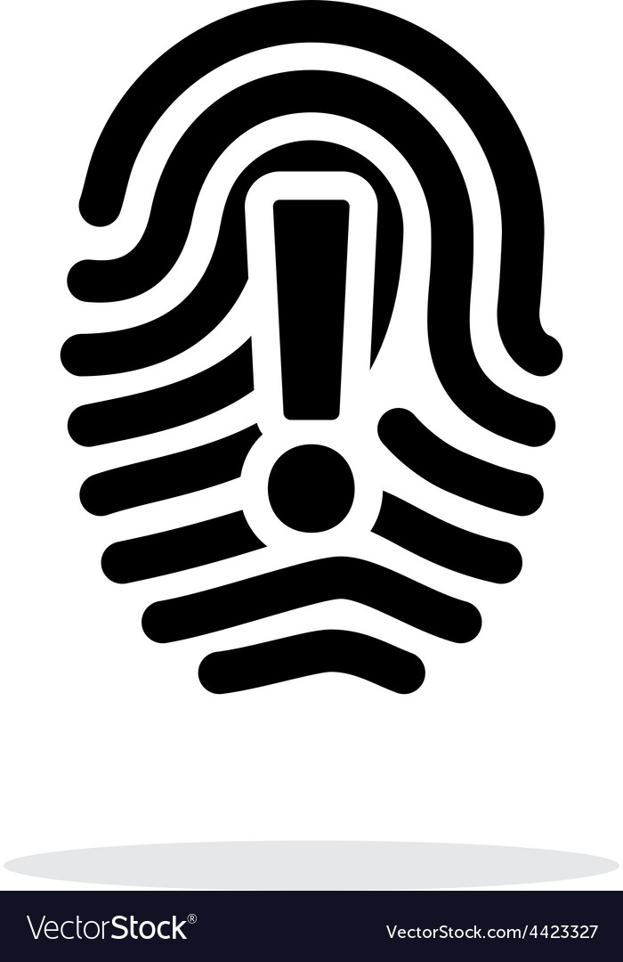 Attention sign on fingerprint icon on white vector | Price: 1 Credit (USD $1)