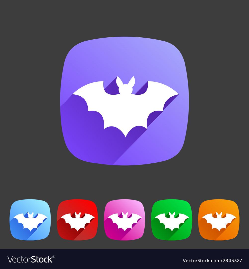 Bat flat halloween icon badge vector | Price: 1 Credit (USD $1)