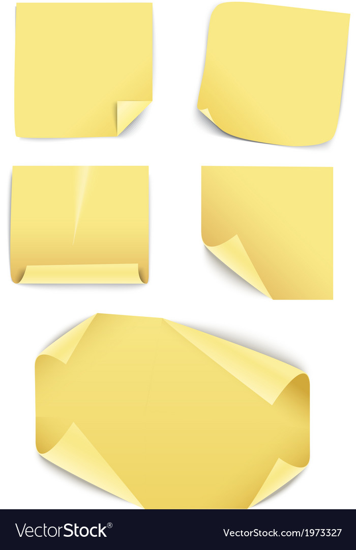 Blank yellow paper stickers collection vector | Price: 1 Credit (USD $1)