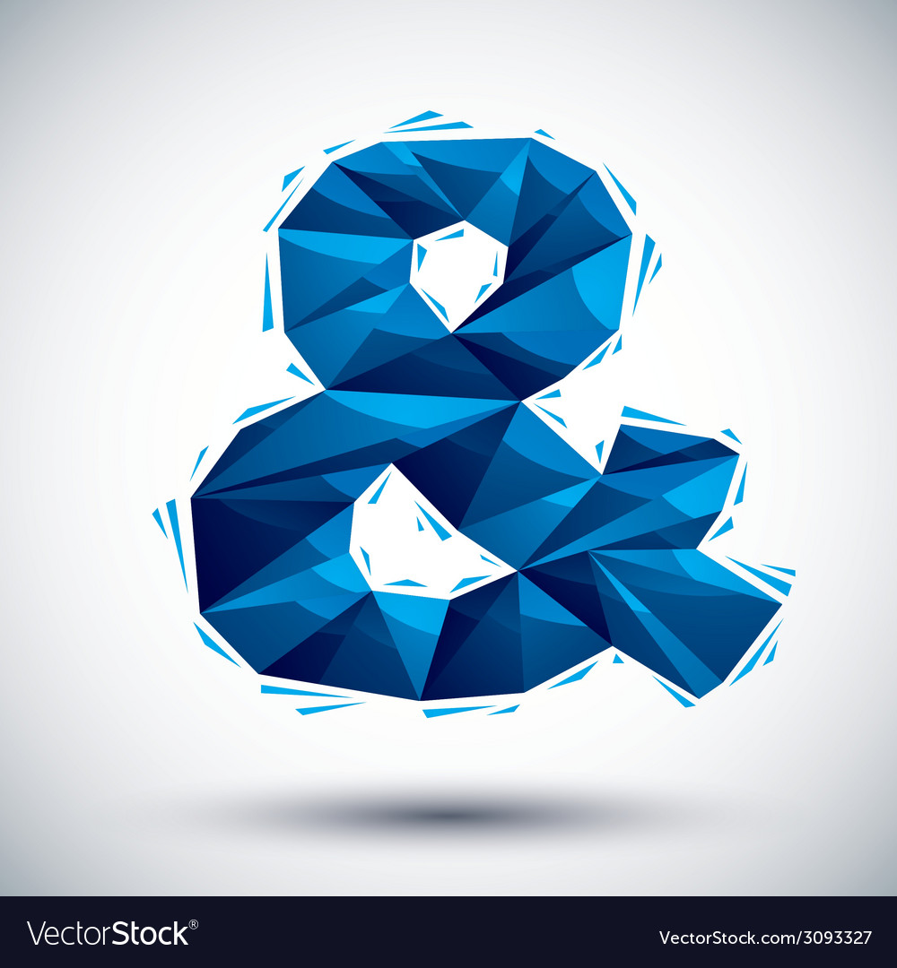 Blue ampersand geometric icon made in 3d modern vector | Price: 1 Credit (USD $1)