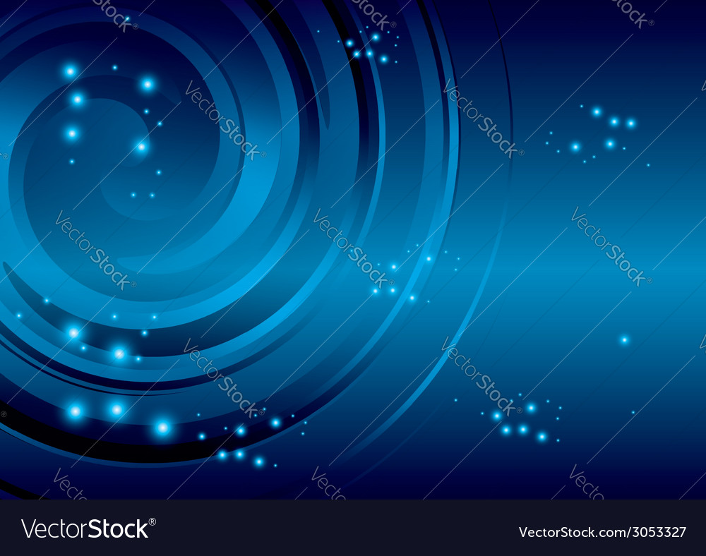 Blue background with stars and abstraction spiral vector | Price: 1 Credit (USD $1)
