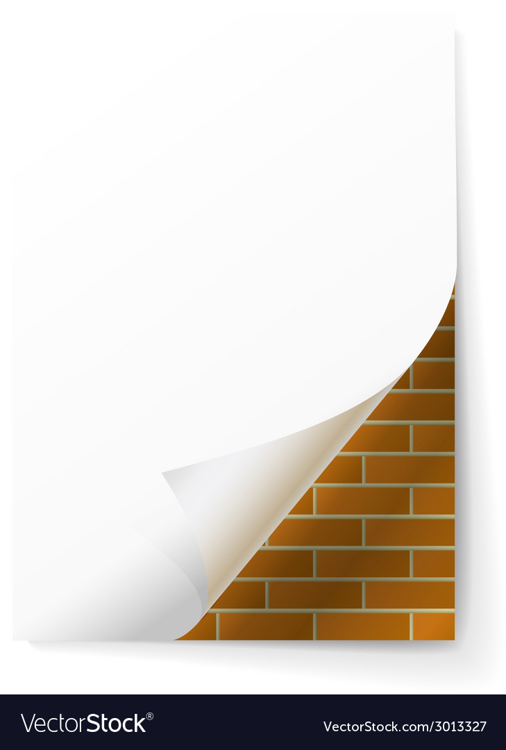 Brick wall under a sheet of paper vector | Price: 1 Credit (USD $1)