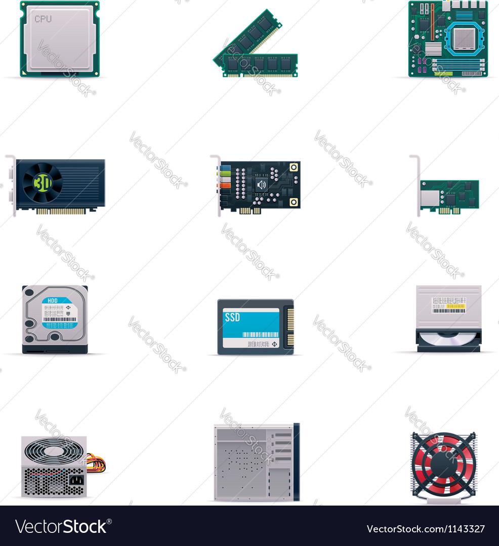 Computer parts icon set vector | Price: 5 Credit (USD $5)