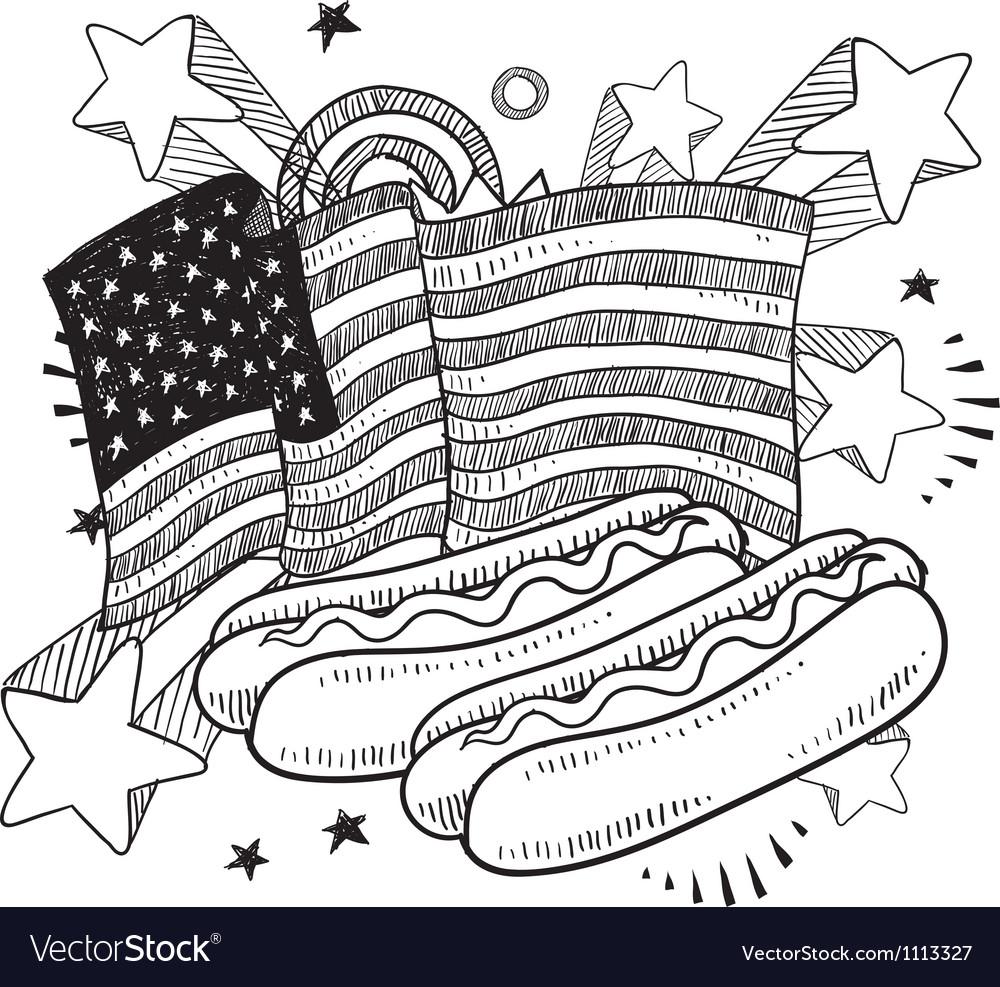 Doodle americana hotdog bw vector | Price: 1 Credit (USD $1)