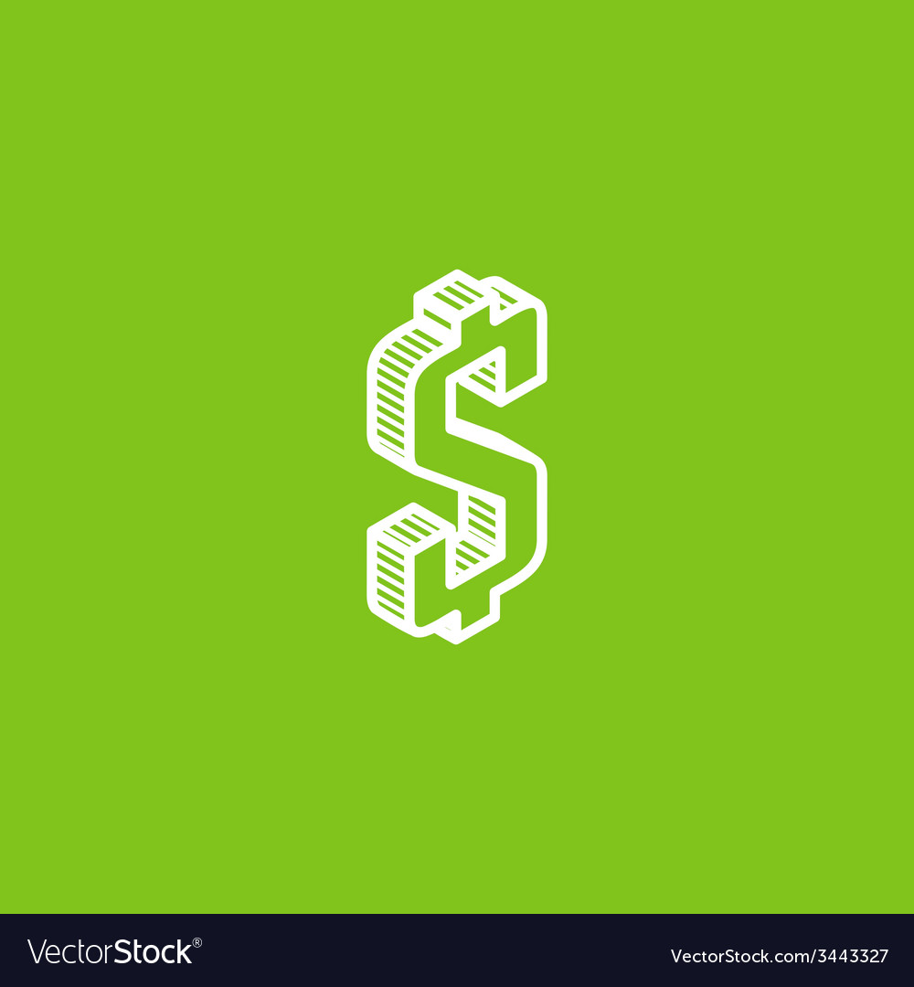 Isometric icon with dollar sign vector | Price: 1 Credit (USD $1)