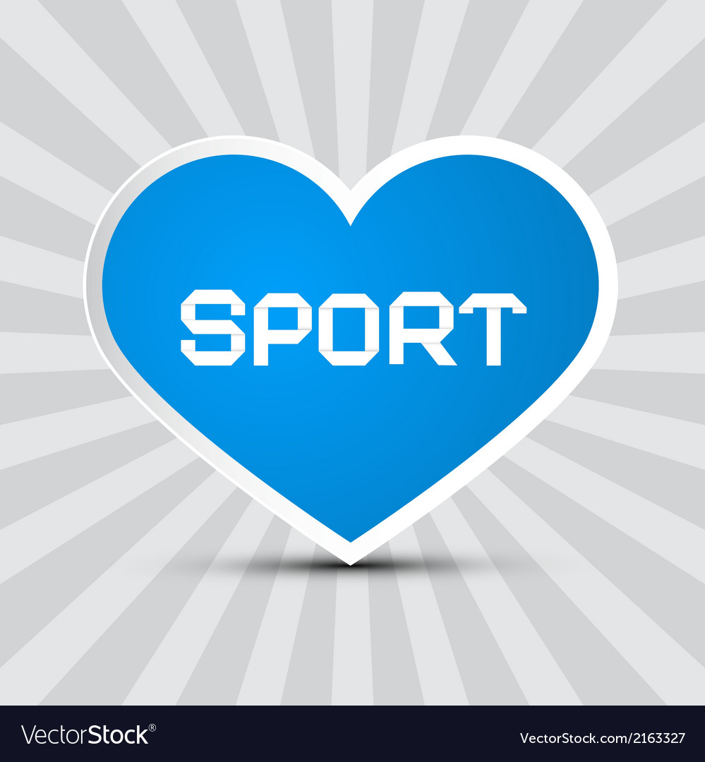 Love sport theme with blue paper heart on retro vector   Price: 1 Credit (USD $1)