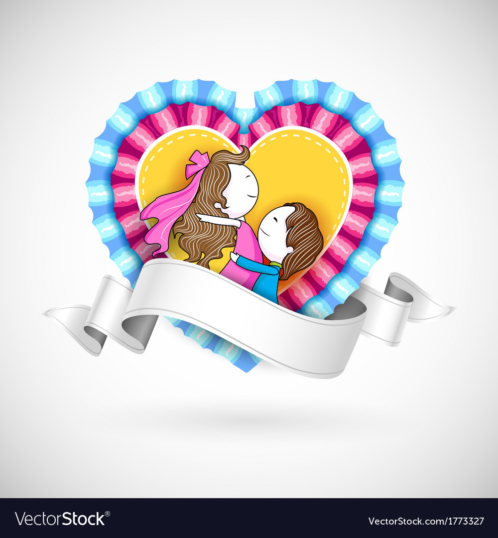 Loving couple in heart vector | Price: 1 Credit (USD $1)