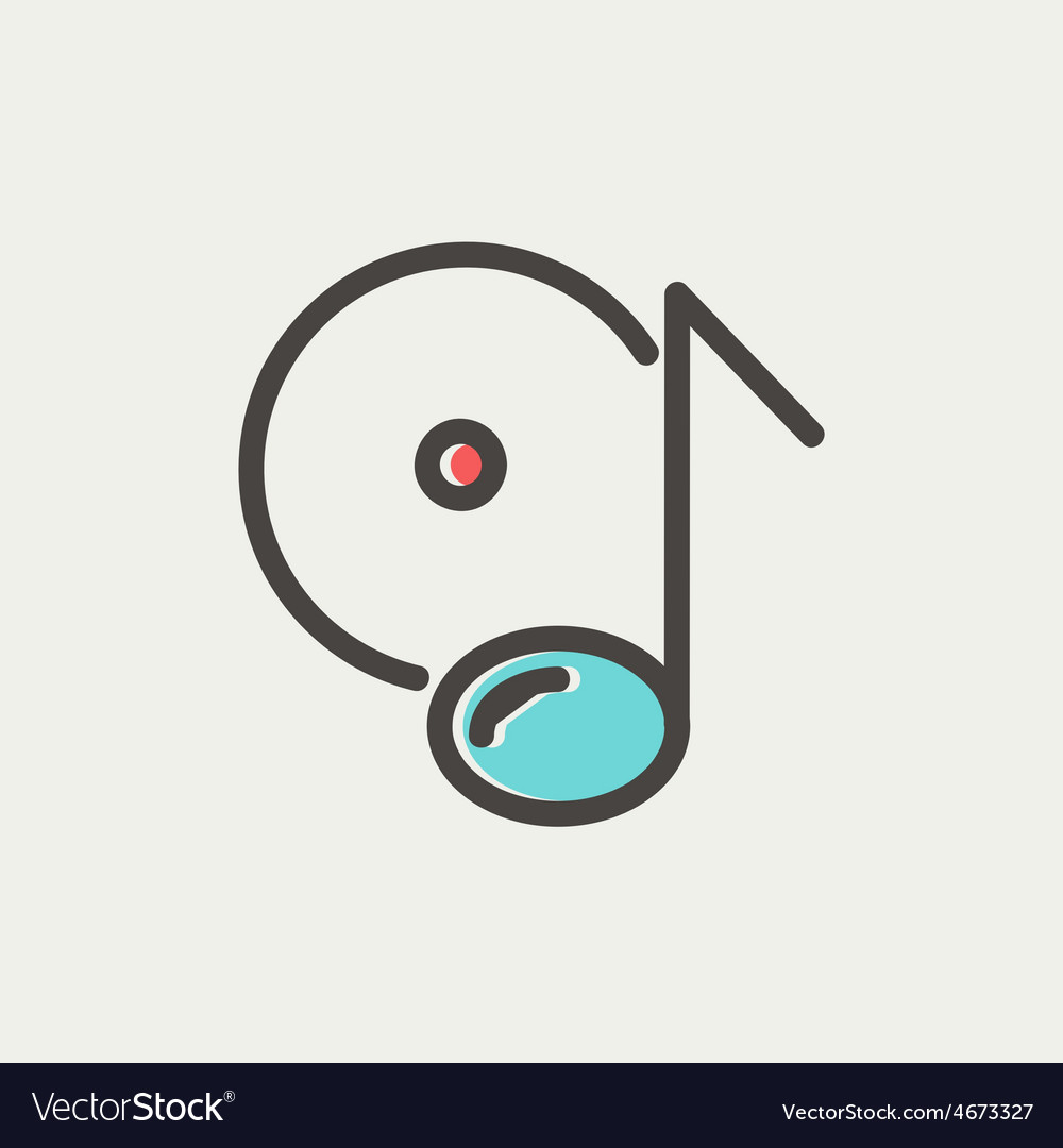 Note with phonograph record thin line icon vector | Price: 1 Credit (USD $1)