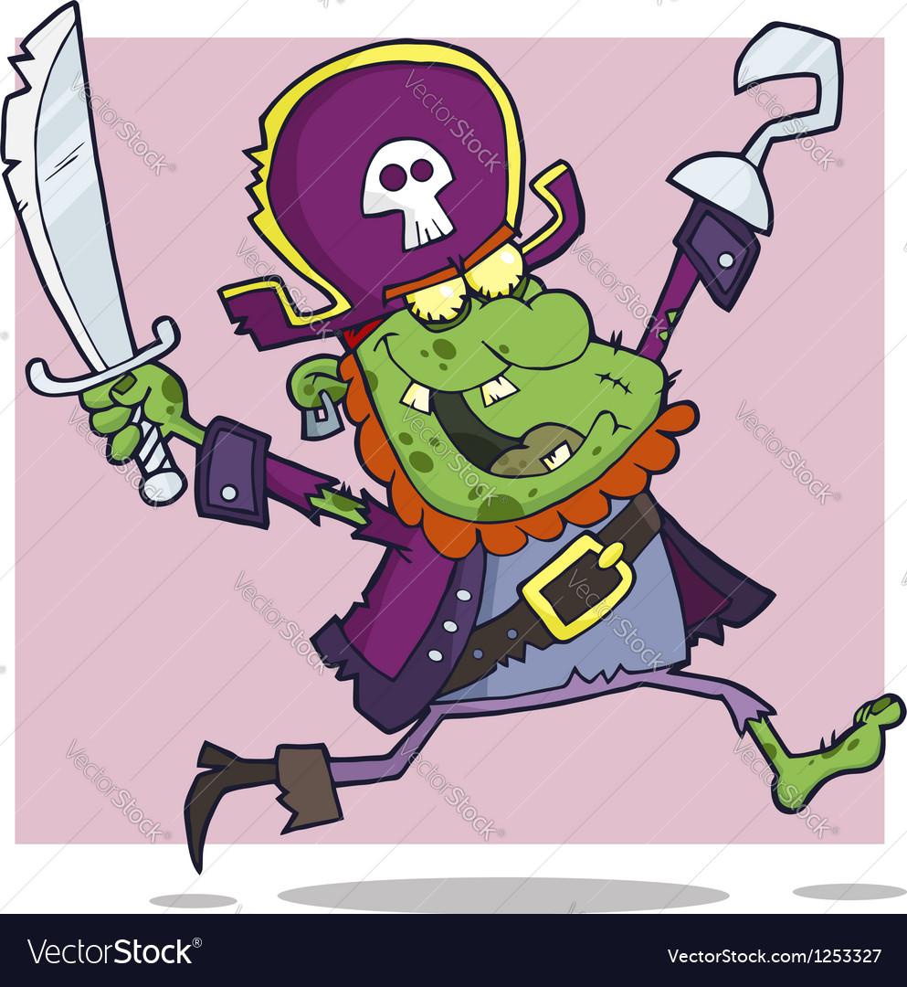 Pirate zombie cartoon character vector | Price: 3 Credit (USD $3)