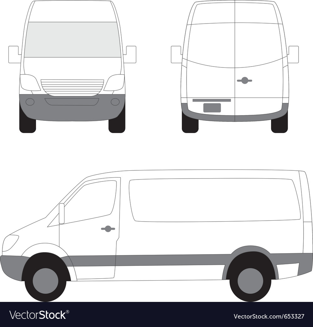 White delivery van side front view vector | Price: 1 Credit (USD $1)