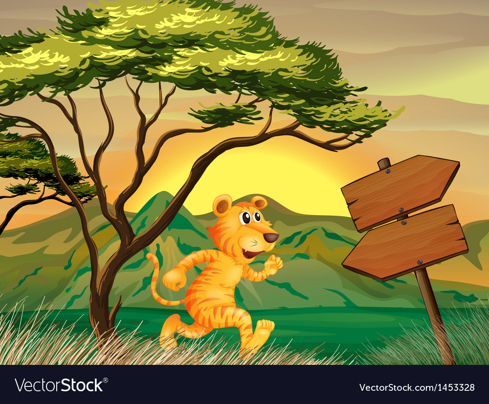 A tiger following the signs vector | Price: 1 Credit (USD $1)