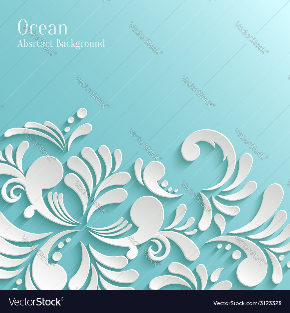 Abstract ocean background with 3d floral pattern vector | Price: 1 Credit (USD $1)