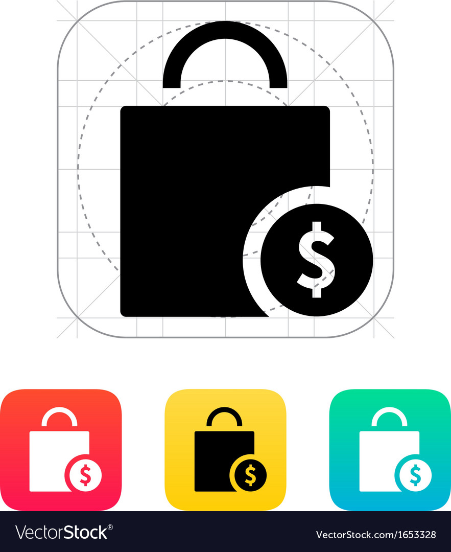 Bag cost icon vector | Price: 1 Credit (USD $1)