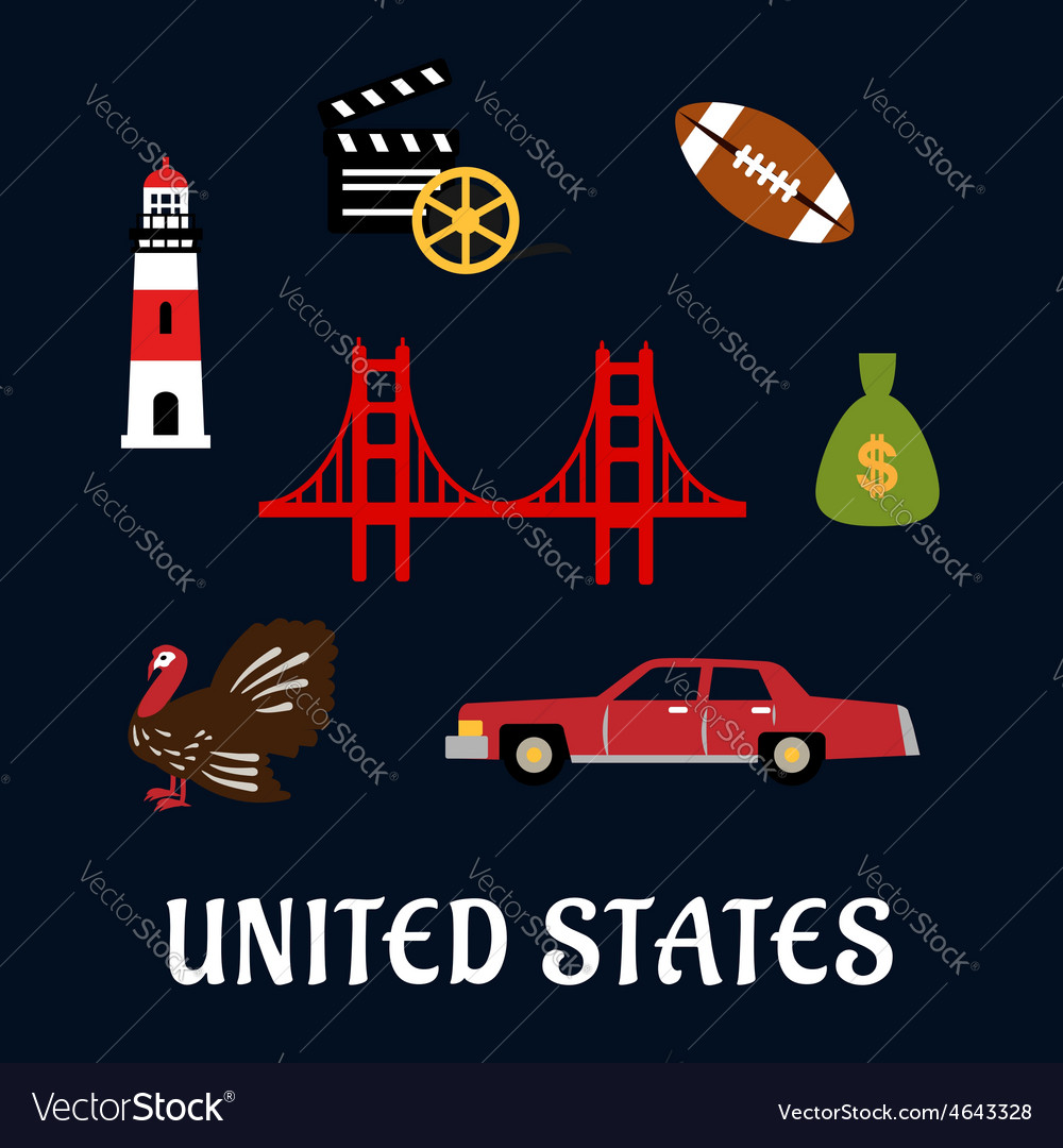 Colored flat travel united states icons vector   Price: 1 Credit (USD $1)