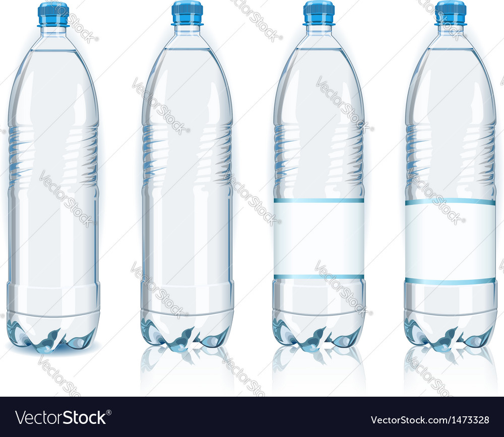 Four plastic bottles with generic labels vector | Price: 1 Credit (USD $1)