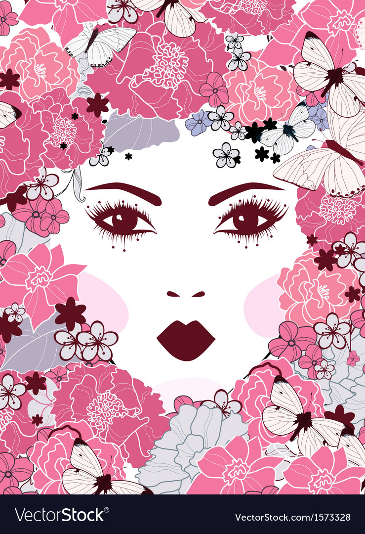 Girls face with flowers vector | Price: 1 Credit (USD $1)