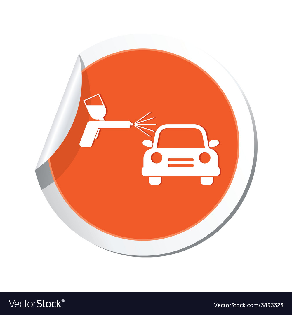 Painting of cars orange label vector | Price: 1 Credit (USD $1)