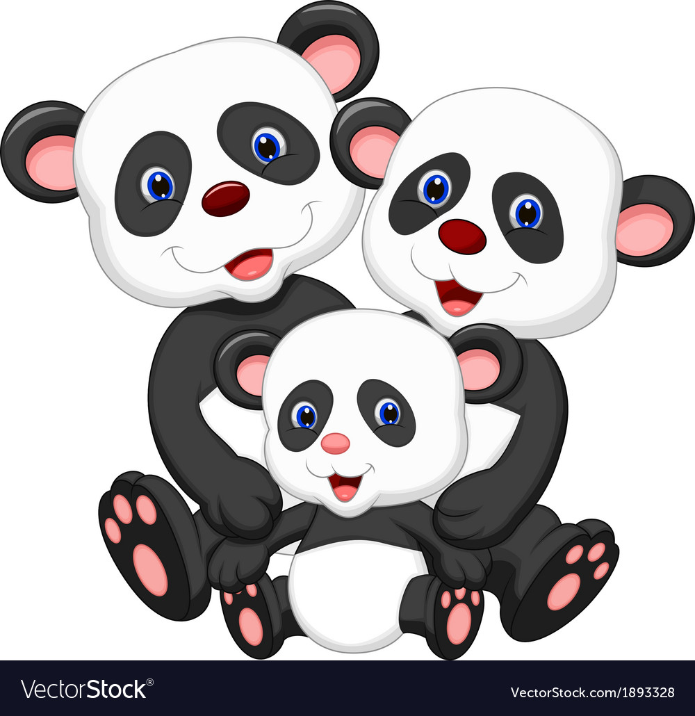Panda bear family cartoon vector | Price: 1 Credit (USD $1)