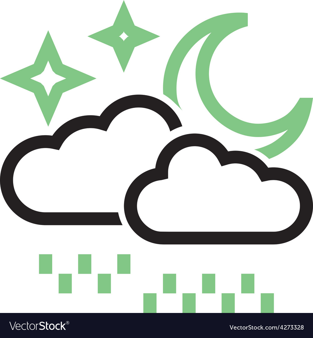 Rainy cloud with moon vector | Price: 1 Credit (USD $1)