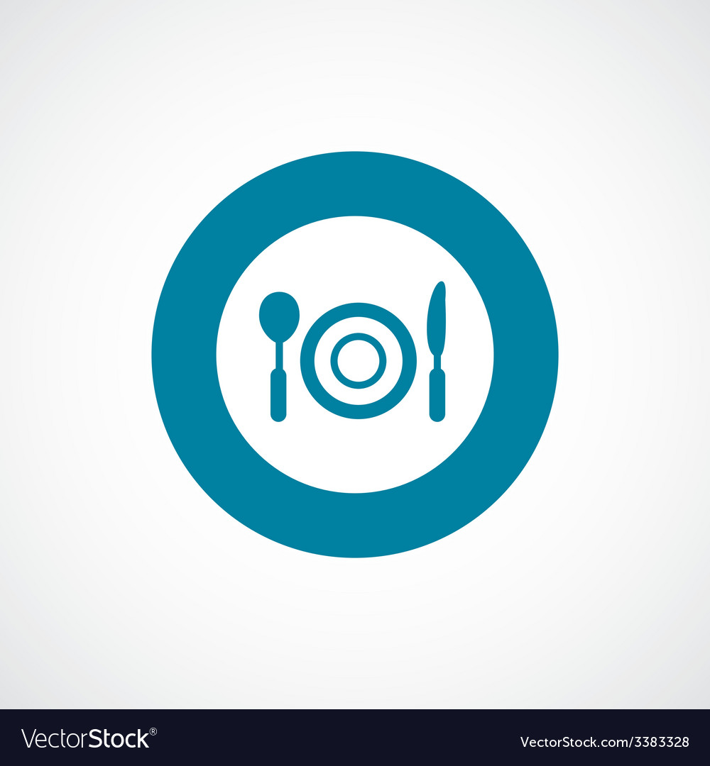 Restaurant bold blue border circle icon vector | Price: 1 Credit (USD $1)