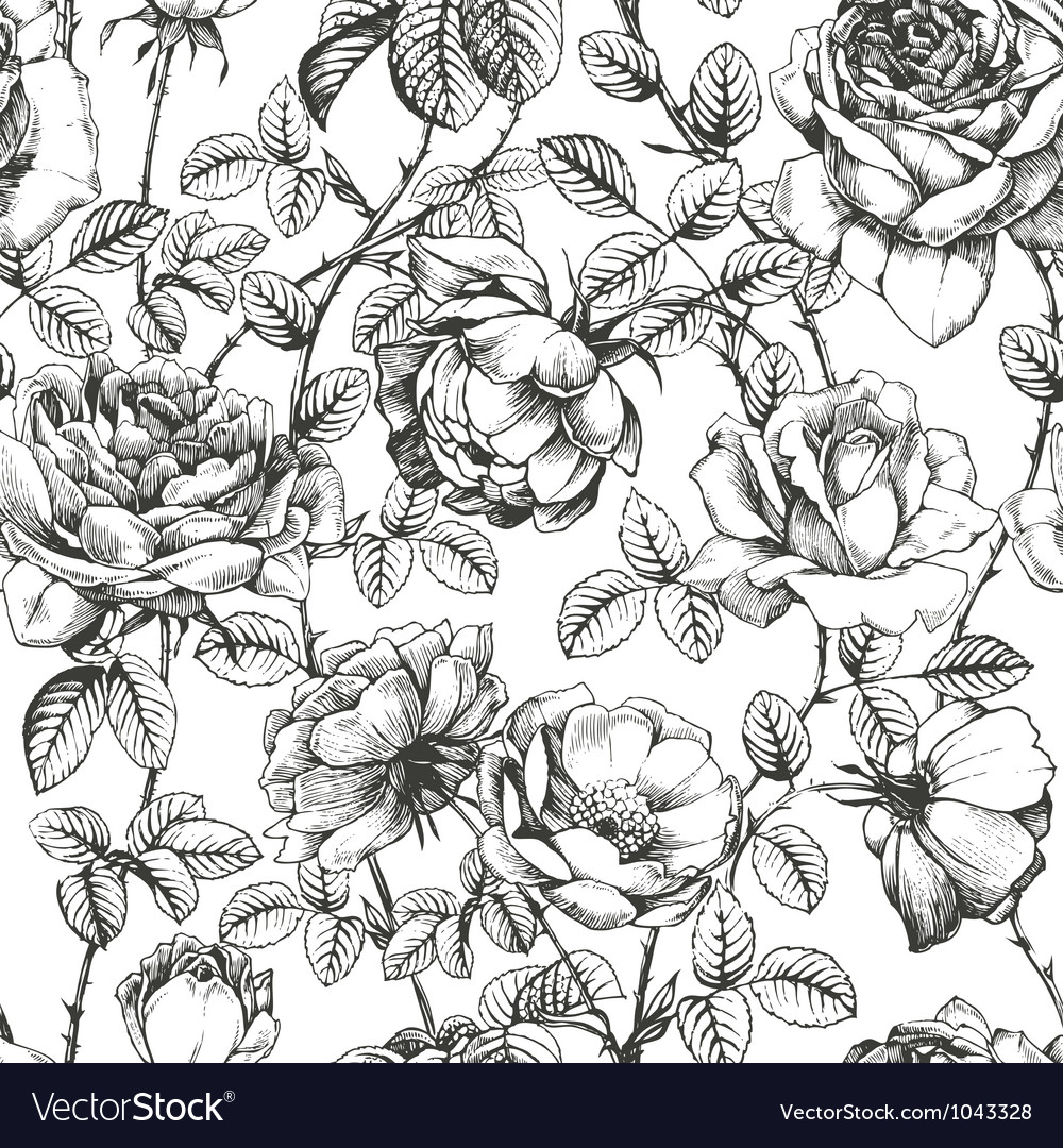 Rose pattern white vector | Price: 1 Credit (USD $1)