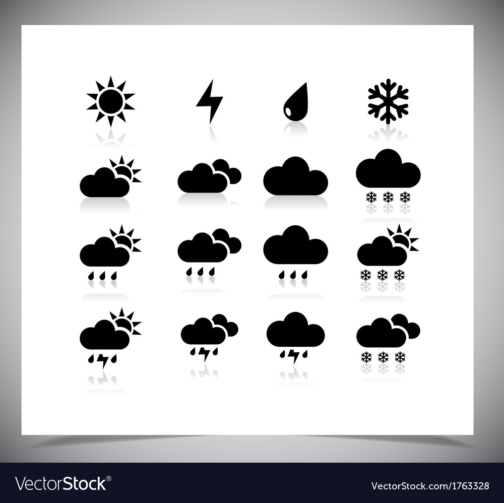 Set of black weather icons vector | Price: 1 Credit (USD $1)