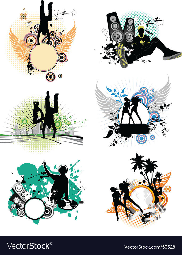 Set of silhouettes music concept vector | Price: 3 Credit (USD $3)