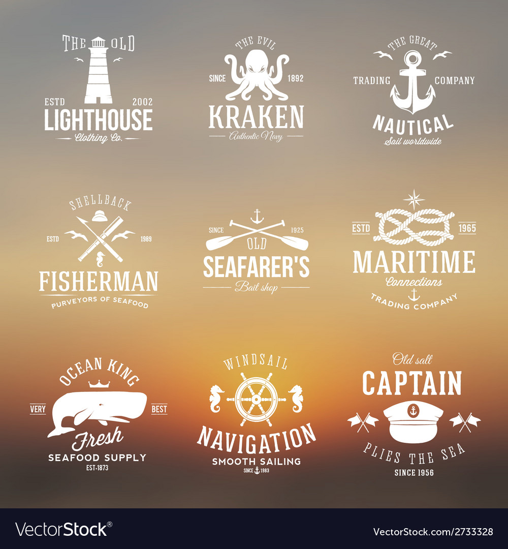 Set of vintage nautical labels or signs with retro vector | Price: 1 Credit (USD $1)