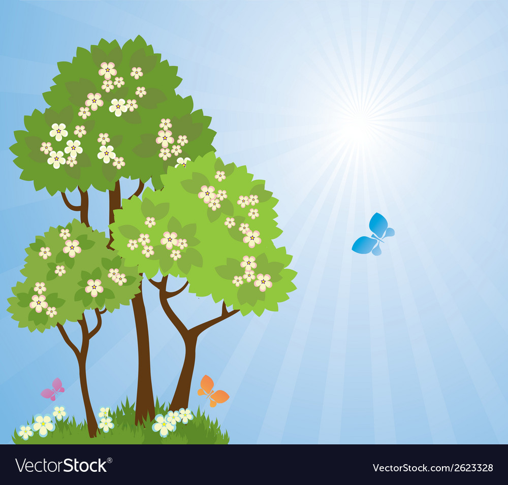 Spring garden vector | Price: 1 Credit (USD $1)
