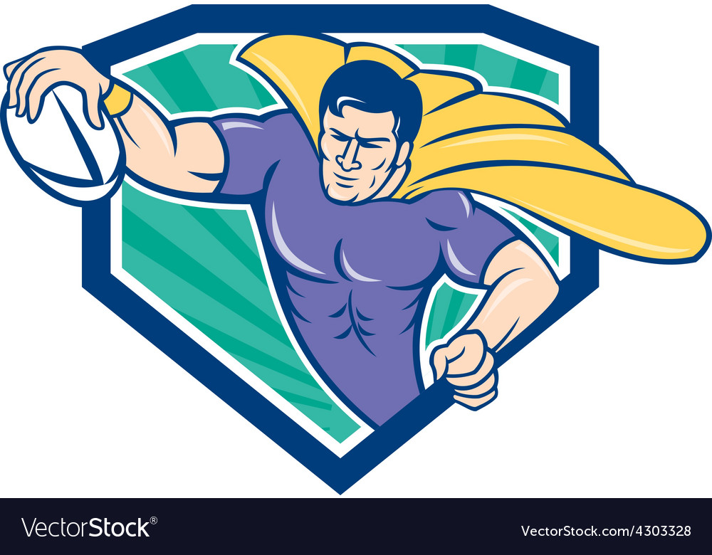 Superhero rugby player scoring try crest vector | Price: 1 Credit (USD $1)