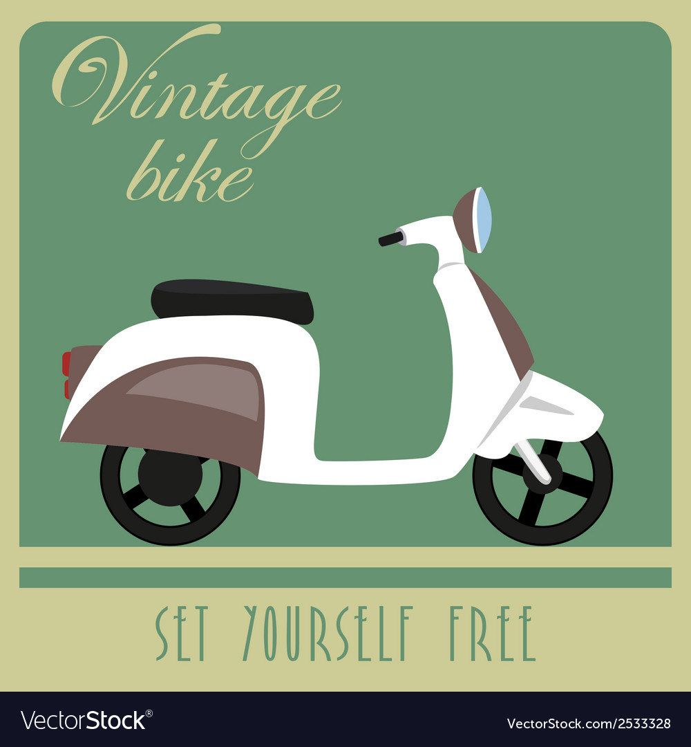Vintage card of white scooter in retro style vector | Price: 1 Credit (USD $1)