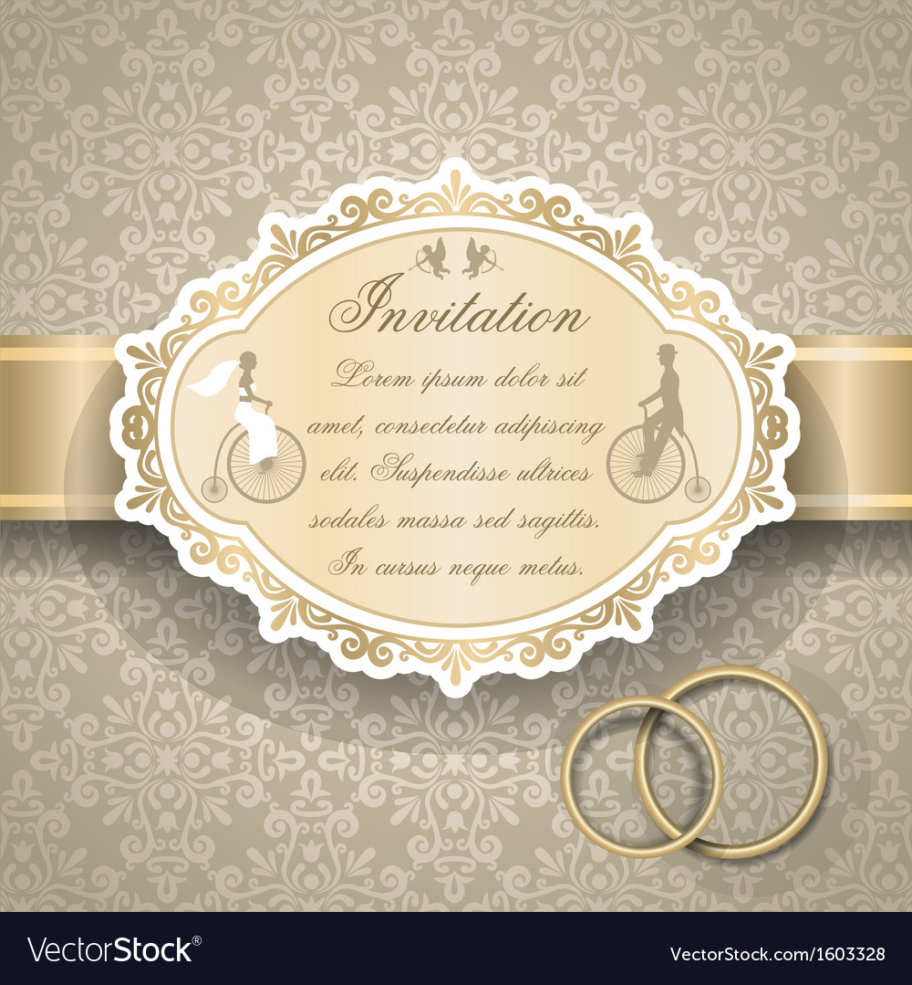 Vintage wedding invitation 6 vector | Price: 1 Credit (USD $1)