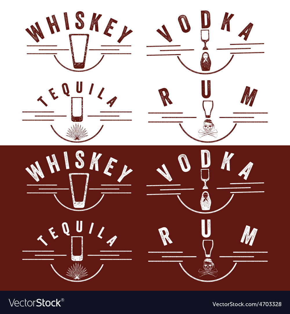Whiskeyrumvodka and tequila vintage labels set vector | Price: 1 Credit (USD $1)