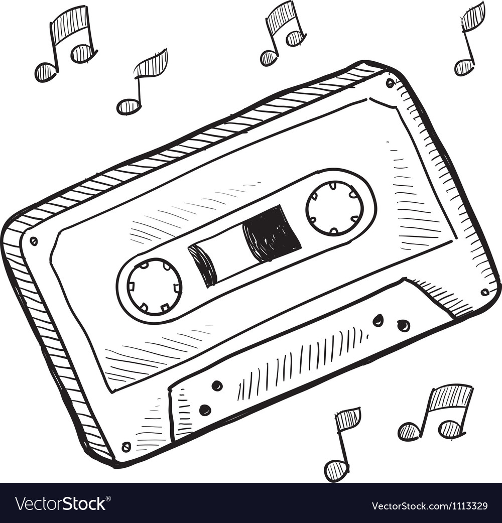 Doodle cassette tape vector | Price: 1 Credit (USD $1)