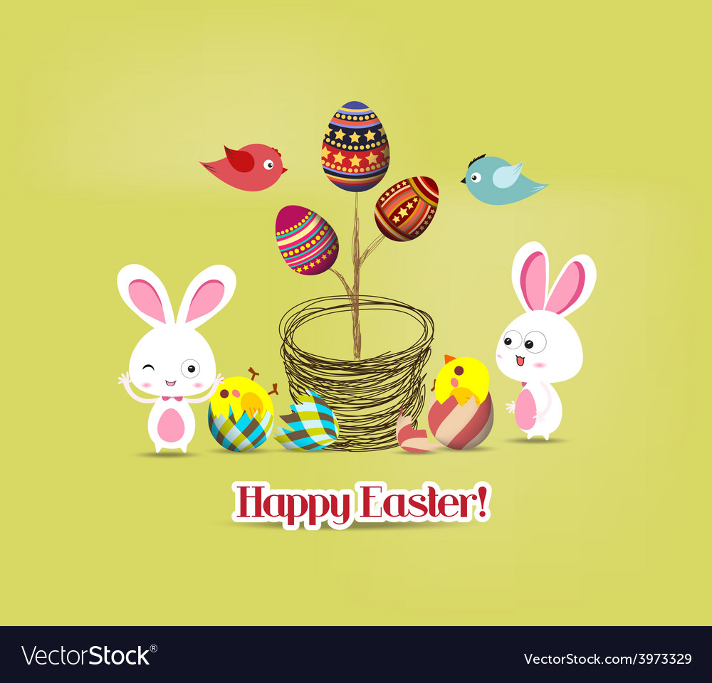 Easter eggs tree bunny and birds vector | Price: 1 Credit (USD $1)